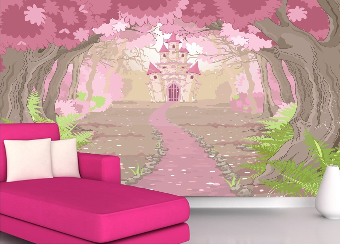 Papel de parede adesivo princesa castelo menina infantil m35 r 99 00 em mercado livre - Papel para paredes decorativo ...