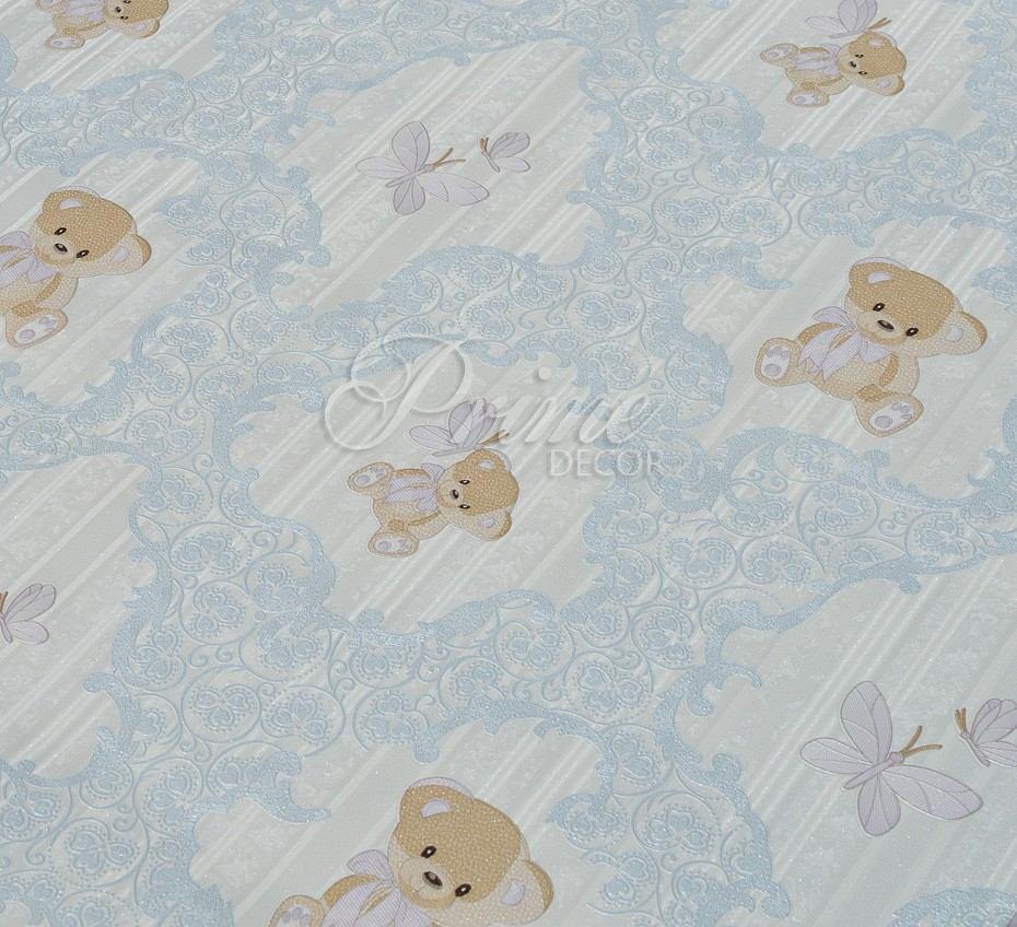 Papel De Parede Importado Textura Infantil Bebê Ursinho Azul - R$ 109,90 em Mercado Livre