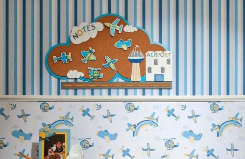 papel parede infantil azul menino listrado bobinex promoção