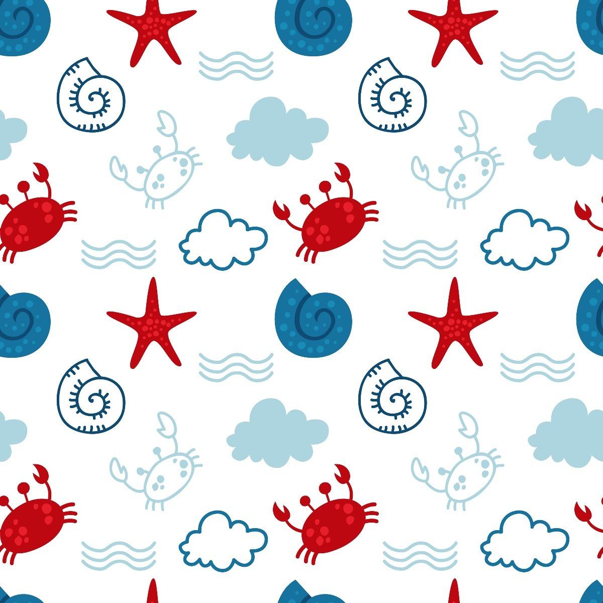 Papel parede infantil bebe fundo do mar oceano menino 12m - Papel infantil para paredes ...