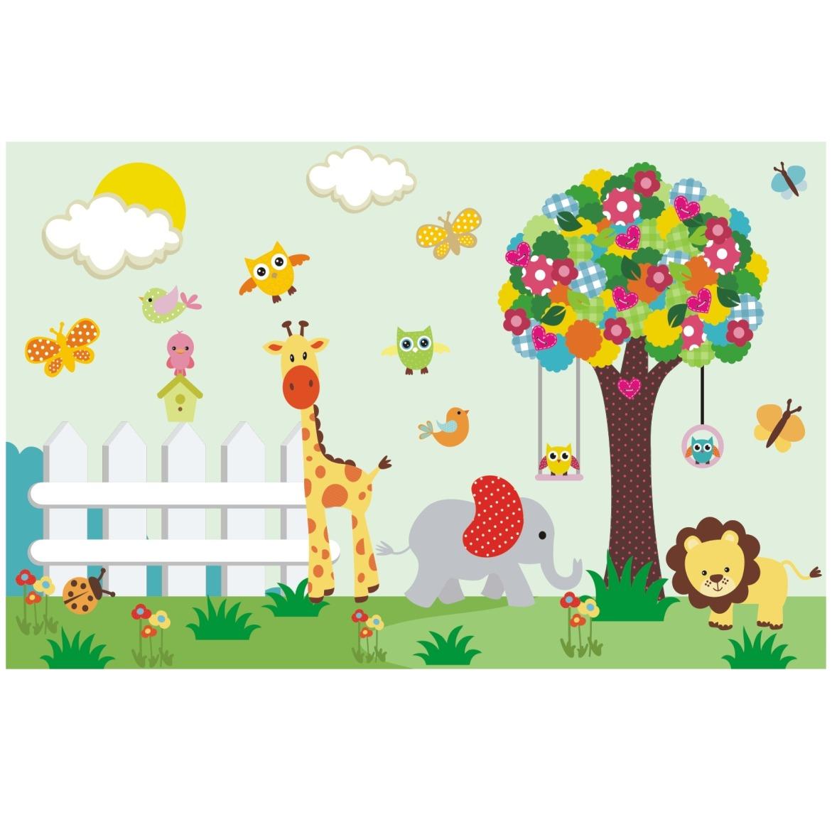 Papel parede infantil zoo safari adesivo animais mural m05 - Mural pared infantil ...