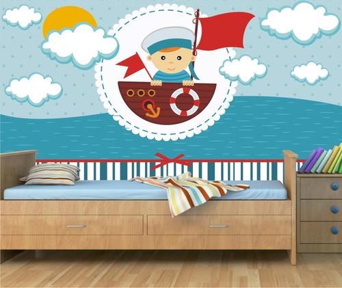 papel parede menino bebe adesivo marinheiro infantil mar 29