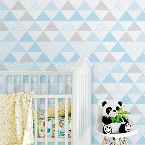 papel parede quarto triângulo geométrico azul cinza 2,5m