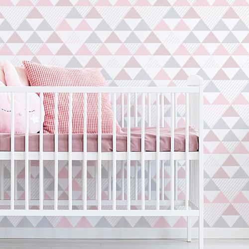 papel parede quarto triângulo geométrico tom rosa cinza 3m