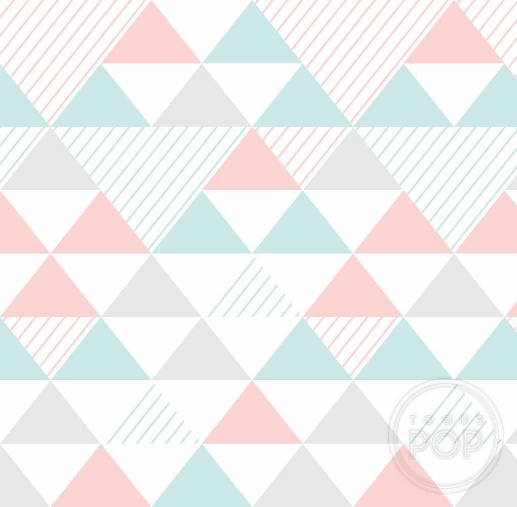 Papel parede triangulo geom trico rosa verde infantil 10m - Papel infantil para paredes ...