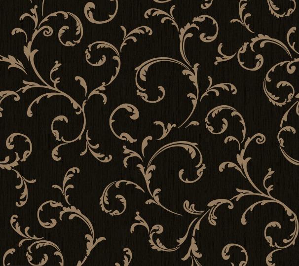 Papel parede vinci arabesco floral preto dourado sala r for Papel de pared dorado