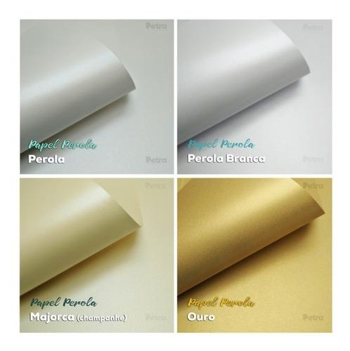 papel perolado para convites 180g - tam: a4 -  200 fls