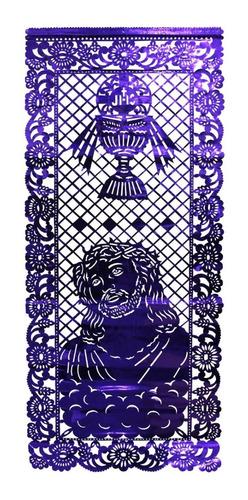 papel picado estandarte metálico religioso morado 10 pz