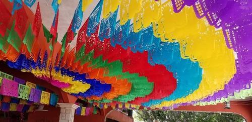 papel picado mexicano 50m plastico tendidos
