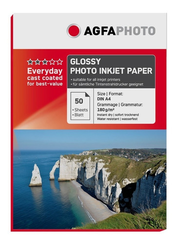 papel premium agfa glossy 180gr 50 hojas a4
