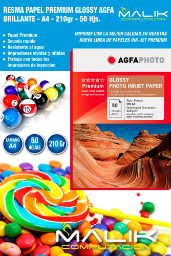 papel premium agfa glossy 210gr 50 hojas a4