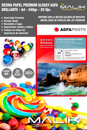 papel premium agfa glossy 240gr 20 hojas a4
