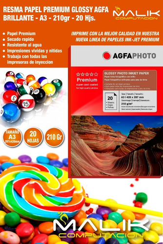 papel premium agfa glossy a3 de 210gr / 20 hojas