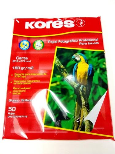 papel profesional fotográfico carta kores 50 hojas 180gr
