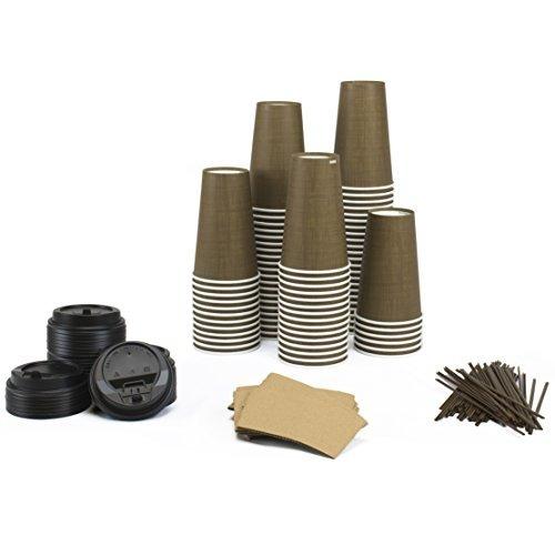 papel quente copos define (100 count) - 16 oz copos, tampas,