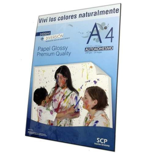 papel resma autoadhesivo foto glossy a4 240g x 100hs sticke