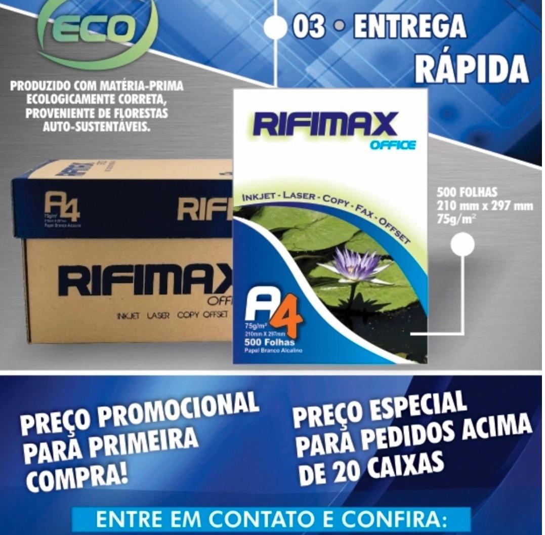 Papel Sulfite A4 Cx 3000 F Rifimax 1ª Qualidade Barato F20 R