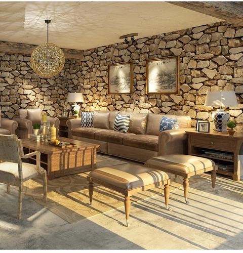 papel tapiz a piedras grandes sala comedor lavable beige