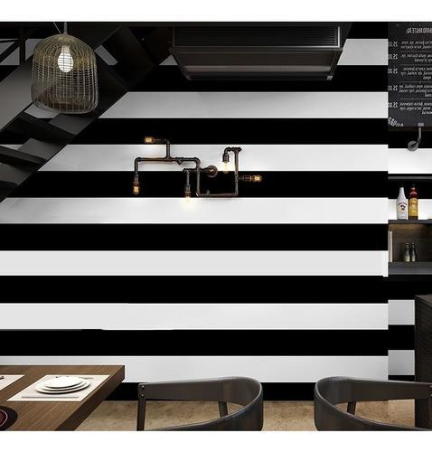 papel tapiz a rayas blanco y negro dormitorio sala