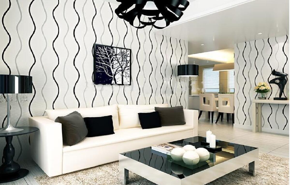 Papel tapiz a rayas sala comedor blanco plata y negro for Patron de papel tapiz para sala comedor