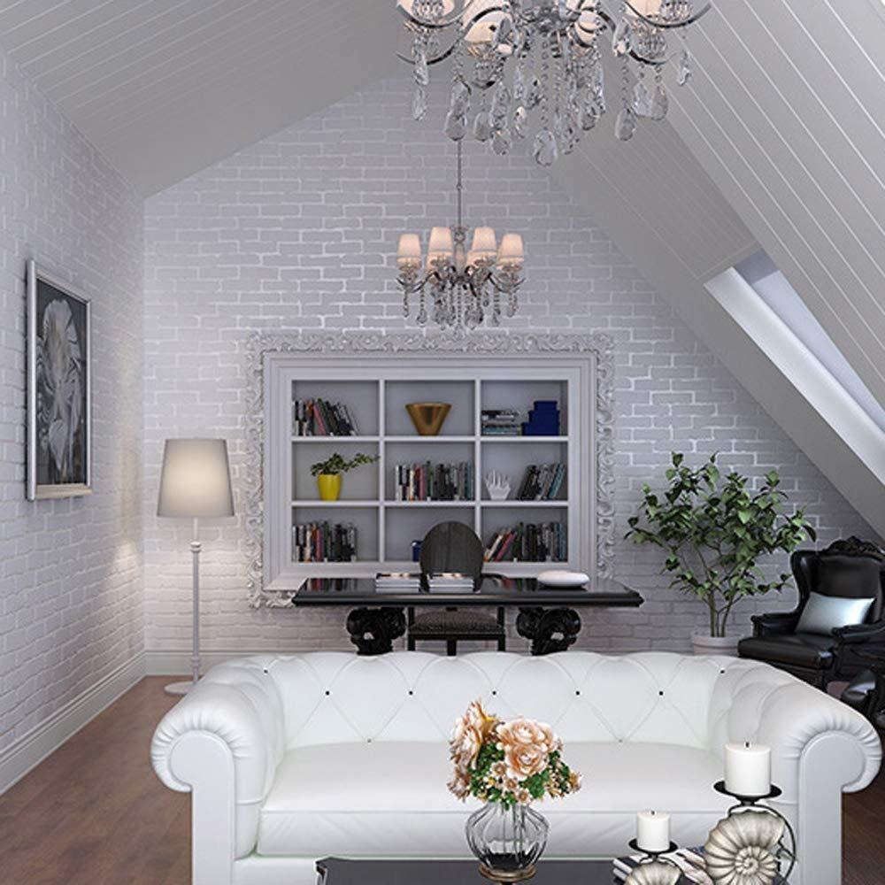 papel tapiz de ladrillo sala de estar ideas Papel Tapiz Colgadura Ladrillo Blanco Relieve Vintage