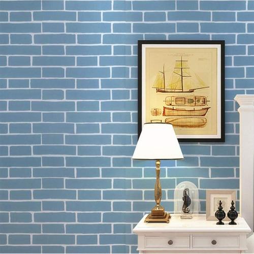 papel tapiz d papel tapiz azul ladrillo autoadhesivo l...