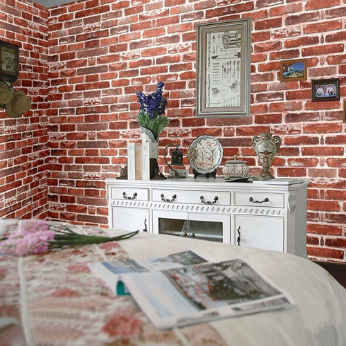 papel tapiz de ladrillo rojo, revestimiento de pared de vini