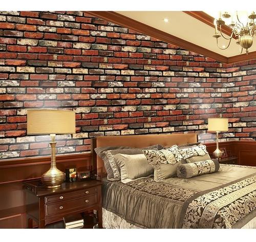 papel tapiz de ladrillos rojos autoadherible pared