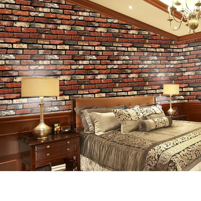 Papel tapiz de ladrillos rojos autoadherible pared 806 - Papel adhesivo para paredes ...