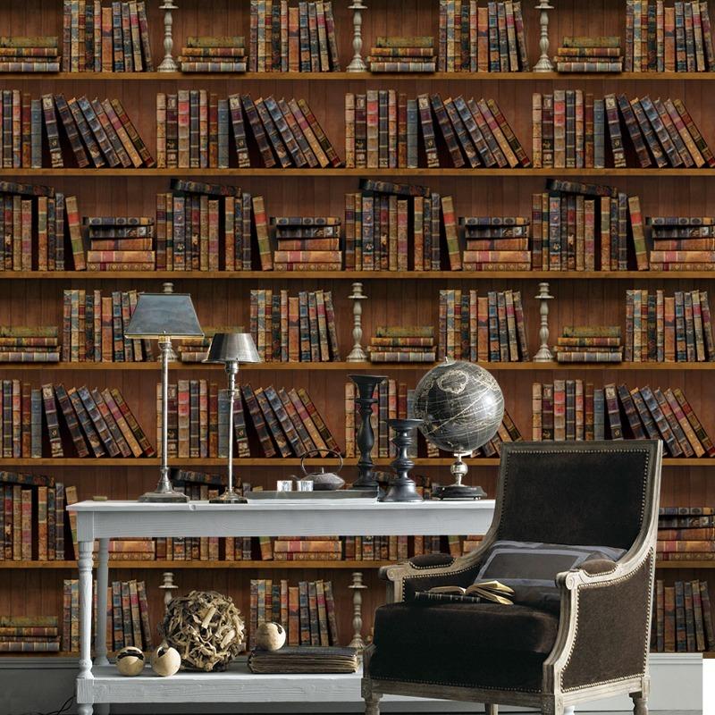 Papel tapiz de libros vintage para pared en - Papel vintage pared ...