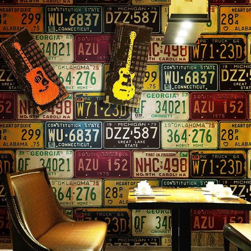 papel tapiz de placas de autos moderno pared vintage