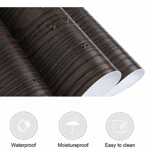 papel tapiz de vinilo adhesivo grano madera, 40 cms x 2 mts