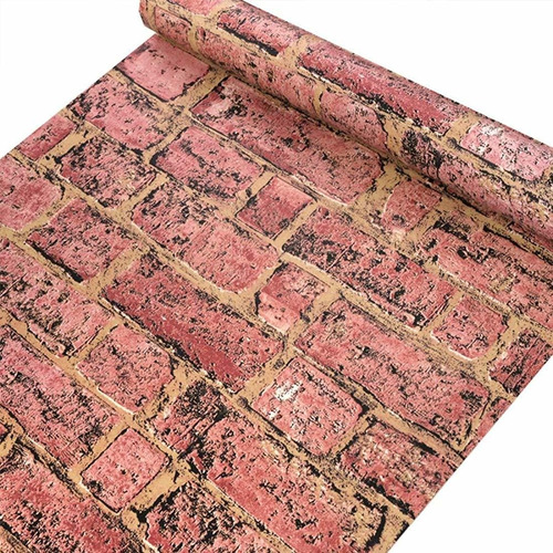 papel tapiz decorativo adhesivo patron ladrillo, 45 cm/10 mt