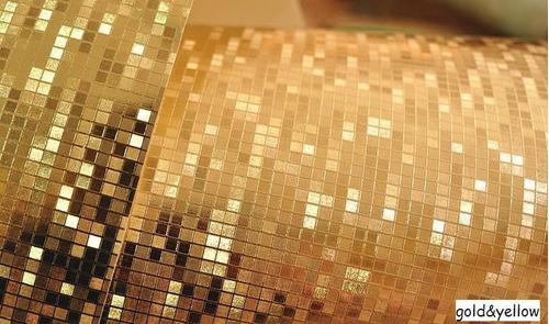 Papel tapiz decorativo dorado glitter en for Papel decorativo dorado