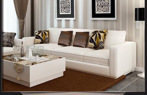 papel tapiz doble raya beige sala comedor 5.3m2