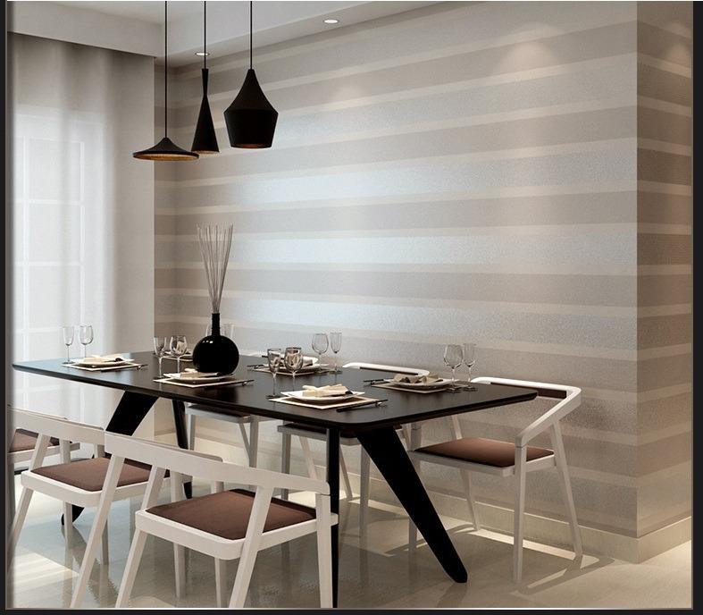 Papel tapiz doble raya beige sala comedor for Patron de papel tapiz para sala comedor