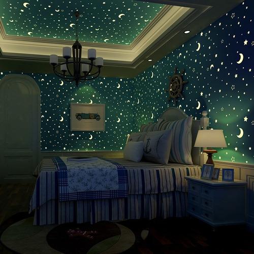 papel tapiz fluorescente estrellas y lunas brilla azul rosa