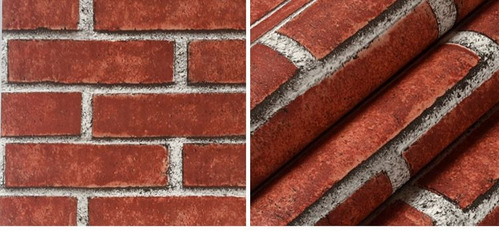 papel tapiz ladrillos rojo sala comedor recamara 5.3m2