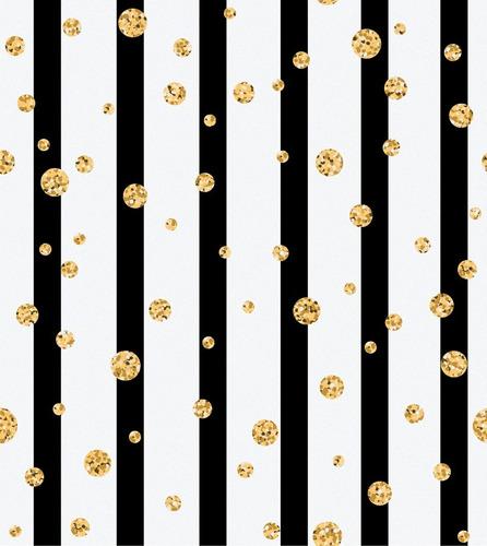 papel tapiz lineas negras puntos dorados autoadherible