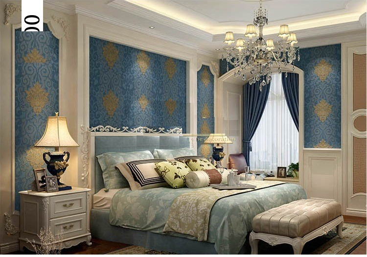 Papel tapiz modelo europeo azul sala comedor 749 for Patron de papel tapiz para sala comedor