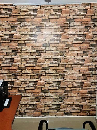 papel tapiz pared piedra laja adherible vinil