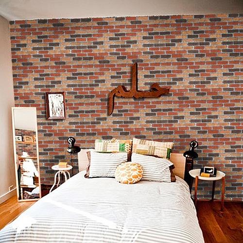 papel tapiz pared tipo ladrillos rojos vintage adhesivo