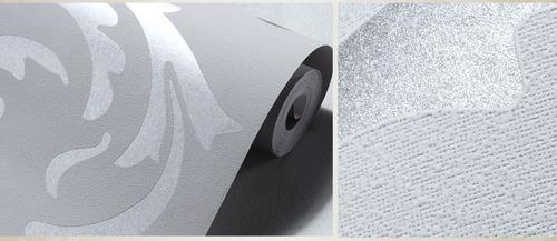 papel tapiz sala comedor plata gris moderno empaque 5.3 mts2