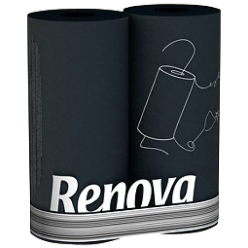 papel toalha preto - 2 rolos - renova