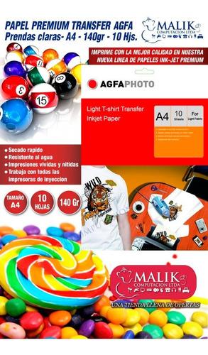 papel transfer agfa prendas claras a4 10hjs 140gr premium