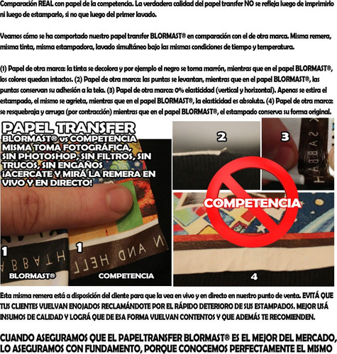 papel transfer blormast premium 3.0 ropa tela oscura a4 x100