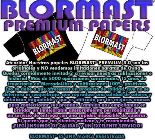 papel transfer blormast premium ropa tela clara a3 x20