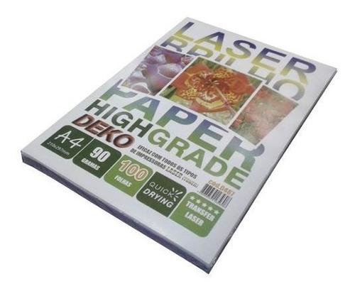 papel transfer laser rigido super brilho 100 folhas a4 90gr
