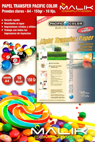 papel transfer pacific color  prendas claras a4 150gr 10hjs