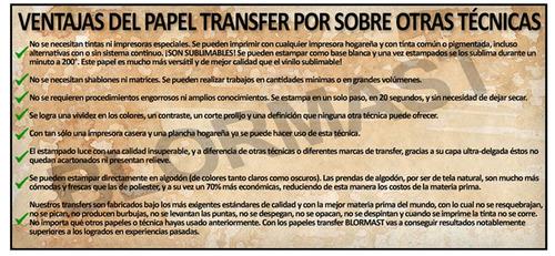 papel transfer premium blormast 30 oscuras y 30 claras a4